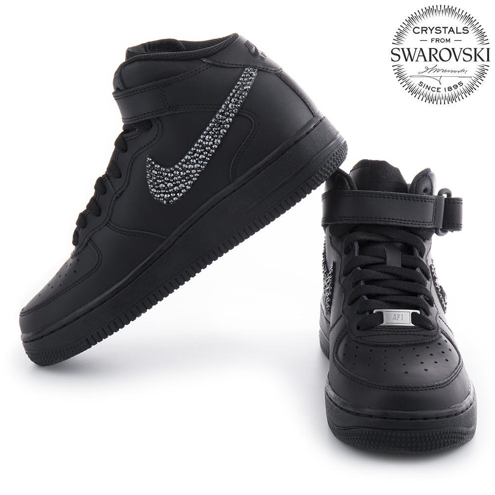 Force 1 Air Nike Black Skull Men Swarovski kuTOPZiX